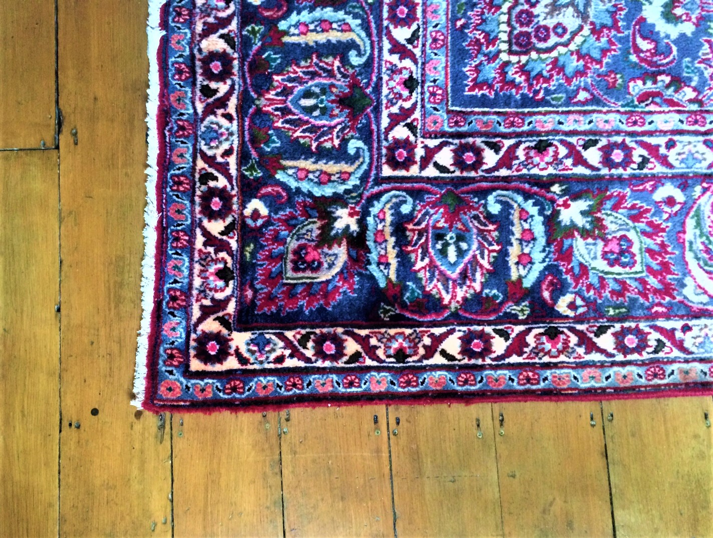 an antique turkish wool rug on old floorboards